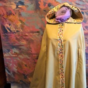 70s hooded poncho cape with colorful macramé trim